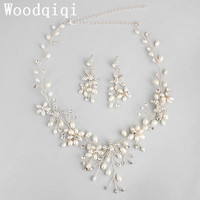 Woodqiqi Women freshwater pearl Costume Jewelery Statement Bridal Jewelry Sets Silver Color