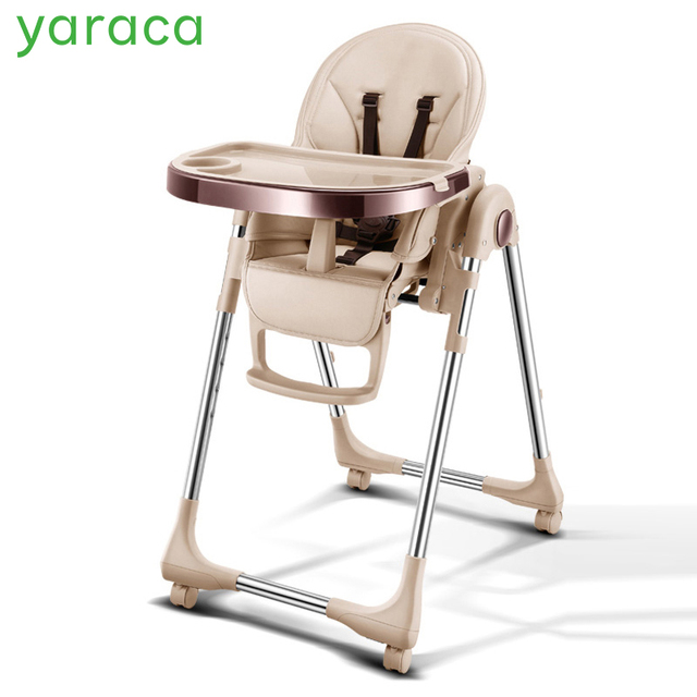 Portable High Chair For Baby Foldable Highchairs Feedding Adjule Booster Seat Dinner Table With Four Wheels