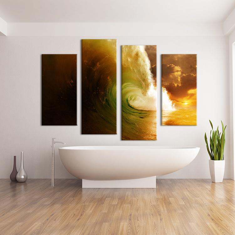 panel wave paisaje salones conjunto impresin de la pintura de pared en lona para la