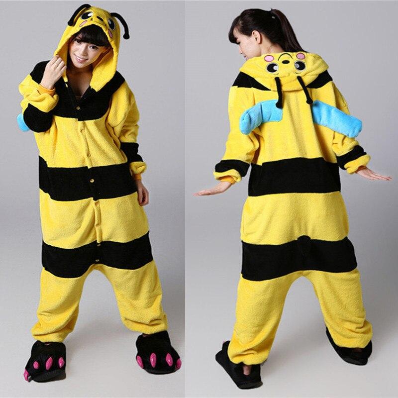 Косплей Kigurumi Bee Onesies Пижамы Комбинезон Толстовки Взрослые Cos Костюм для Хэллоуина и карнавала