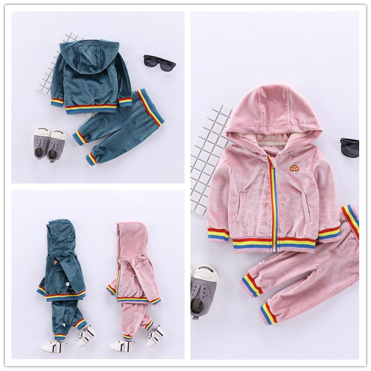 2018 Spring Baby Suit Children Hooded Coat+casual Pant 2pcs Kids Sport Gold Velvet Set Rainbow Zipper Jackets for Boys Clothes kids spring formal clothes set children boys three piece suit cool pant vest coat performance wear western style