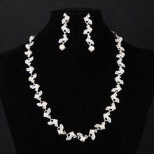 LISM Hot Sale Dress Accessories Jewelry Set Pearl Crystal Shoker Necklace Stud Earring For Women Wedding Accessories