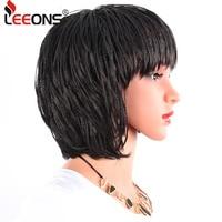 Leeons African American Braided Wigs Micro Braids Wig Heat Resistant Fiber Short Bob Women's Black Cosplay Wigs With Bangs