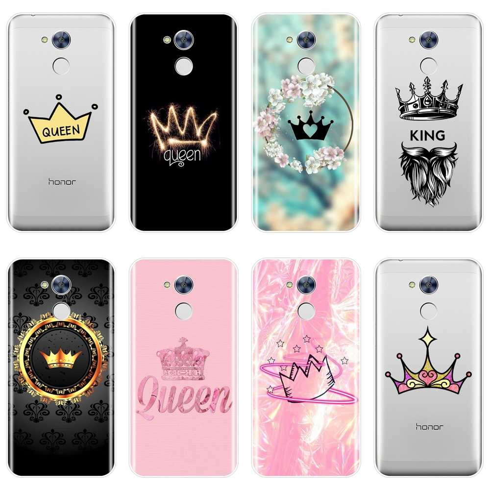 Phone Case For Huawei Honor 4C 5C 6C 6A Pro Soft Silicone King And Queen Crown Back Cover For Huawei Honor 6 5A 4X 5X 6X 6A Case