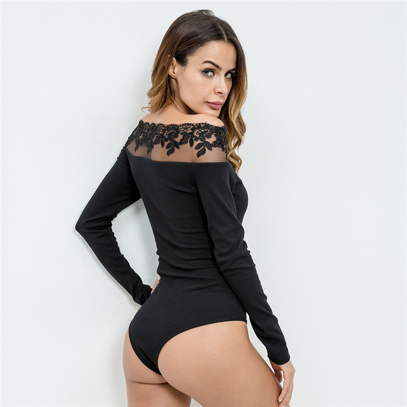 2019 New Women Spring Autumn Sexy Party Bodysuit Slim Fit Bodycon Slash Neck Black Lace Off Shoulder Flower Romper
