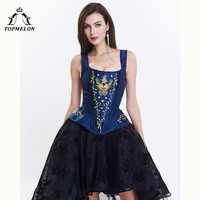 TOPMELON Corset Steampunk Modeling Strap Bustier Gothic Corselet Corset Women Embroidery Floral Silky Party Wedding Corset Tops