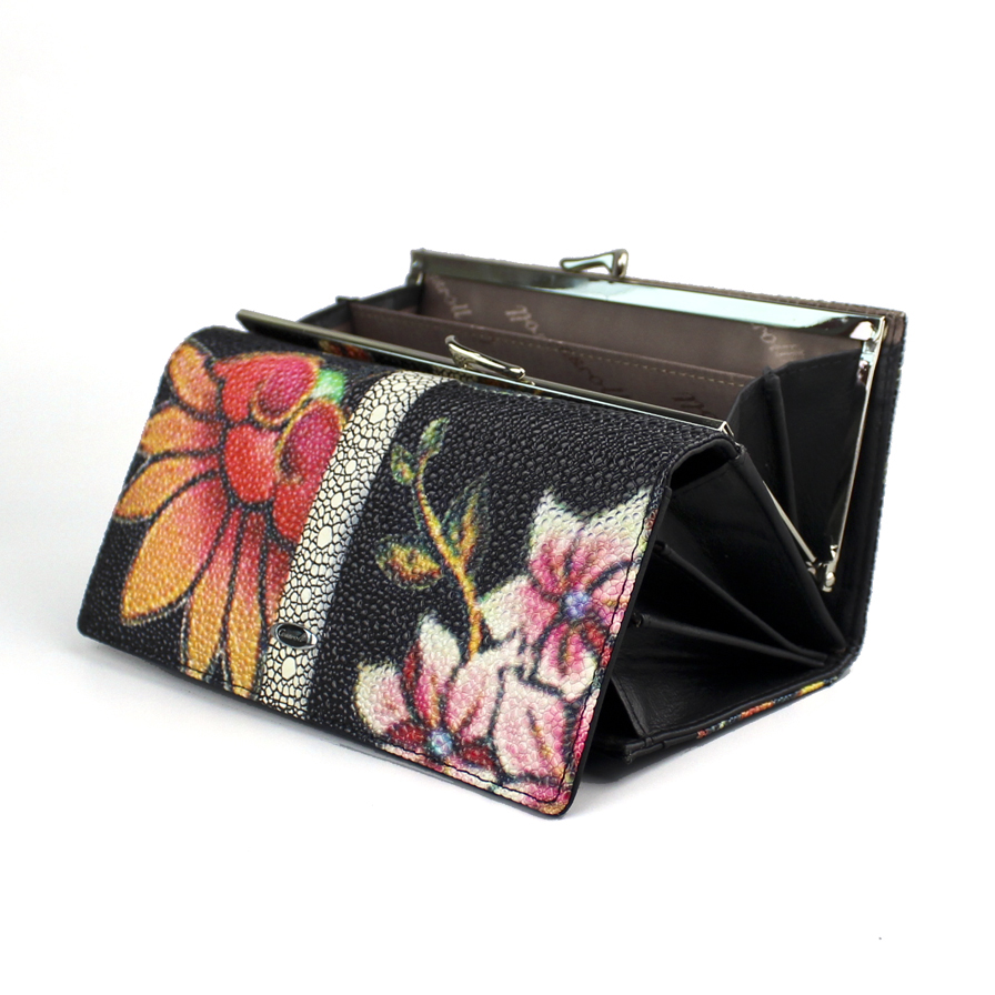 High Quality Genuine Leather Women Wallet Long Fashion Flower Purse Female Clutch Ladies Real Leather Wallet Big Capacity Wallet
