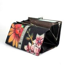 Yüksek kalite hakiki deri kadın cüzdan uzun moda çiçek çanta kadın debriyaj bayanlar gerçek deri cüzdan büyük kapasiteli cüzdan