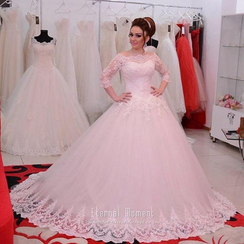 Vintage Three Quarter Length Wedding Dresses: Vintage Ball Gown Wedding Dress Boat Neck Three Quarter