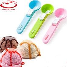 купить 1Pcs New Arrival Plastic Ice Cream Scoop Spoon Melon Ball Dig Sphere Ball Fruit Ice Cream Jelly Spoon Scoop Tools по цене 84.02 рублей