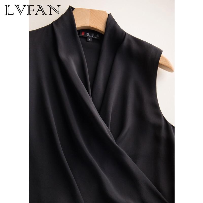 Soie femme col en v sans manches slim ceinture décontractée sauvage soie sommets bureau dame gilet chemise noir rouge blanc LVFAN OCSC-004 - 3