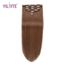 "YILITE Non-Remy Straight Clip In Human Hair Extensions 14""-20inch 100% Human Hair Clips In Hair Extensions"