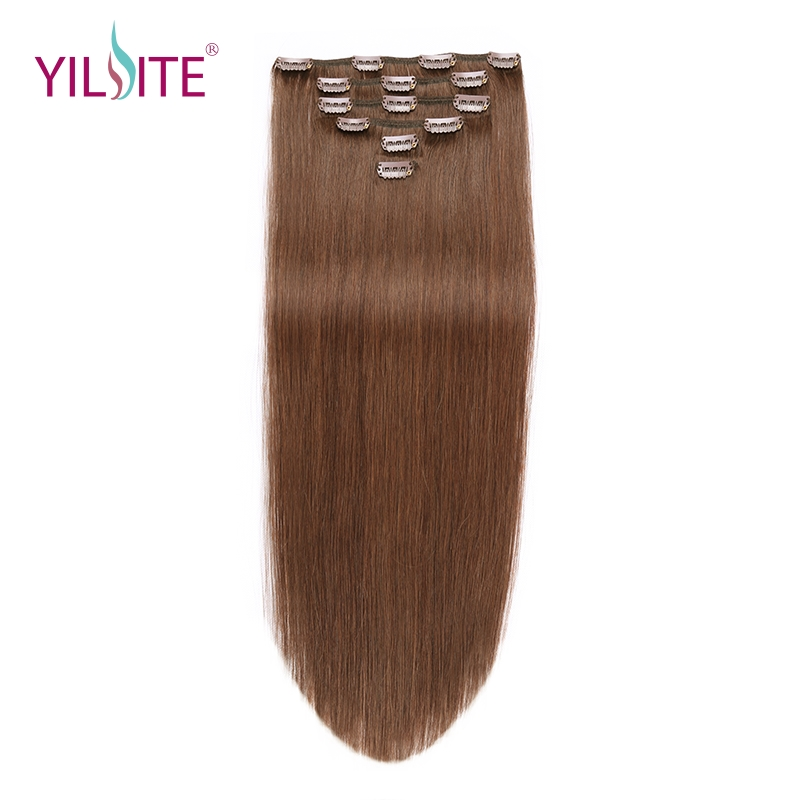YILITE Non-Remy Straight Clip In Human Hair Extensions 14''-20inch 100% Human Hair Clips In Hair Extensions