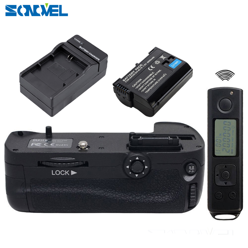 Meike MK-DR7100 2.4Ghz Wireless Remote Control Vertical Battery Grip+EN-EL15 batteries+charger for Nikon D7100 D7200 as MB-D15 meike mk dr750 vertical battery grip pack holder for nikon d750 rechargeable li ion battery for nikon en el15 cleaning kit