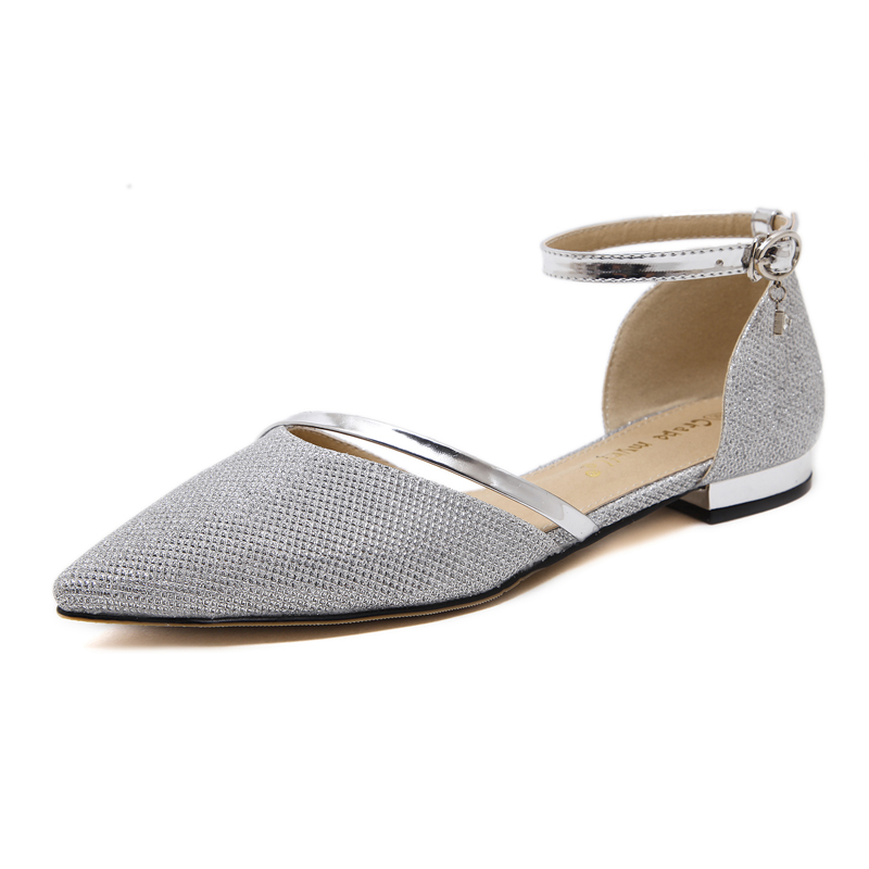 Fashion 2017 Gold / Silver Flat Shoes Women Ankle Strap Sandals Pointed Toe Sandals Rhinestone Ladies Shoes for Women NL013 women flat sandals fashion ladies pointed toe flats shoes womens high quality ankle strap shoes leisure shoes size 34 43 pa00290