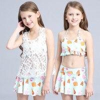Cô gái Váy Chia Ren Mặc Bikini Ba mảnh Spa Trẻ Em Mới Đồ Bơi Gái Swimwear Bikini Bãi Biển Đồ Bơi
