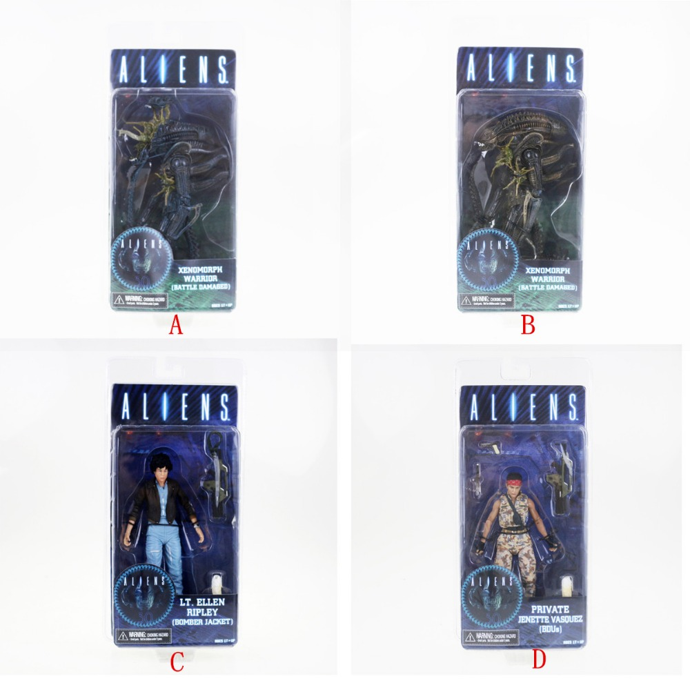 4pcs Neca Aliens Series 12 Action Figures Set Xenomorph Warrior Lt.Ellen Ripley Free Shipping neca gears of war 2 action figures boys hobby toys games collectable 7dominicsantiago figures are
