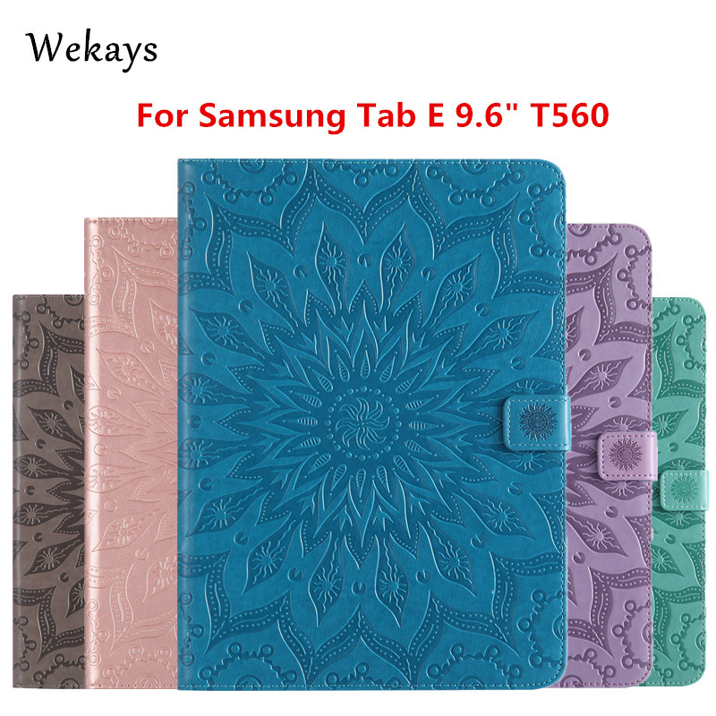 Wekays For Galaxy Tab E 9 6 T560 Smart Leather Stand Fundas Case For Coque Samsung