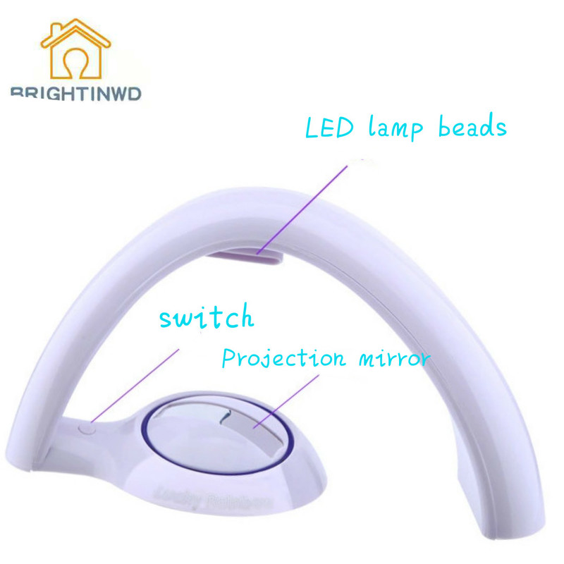 BRIGHTINWD Rainbow Projector Projection Lights Button Egg Shape Rainbow Projection LED Light Curved Colorful Night Lamp