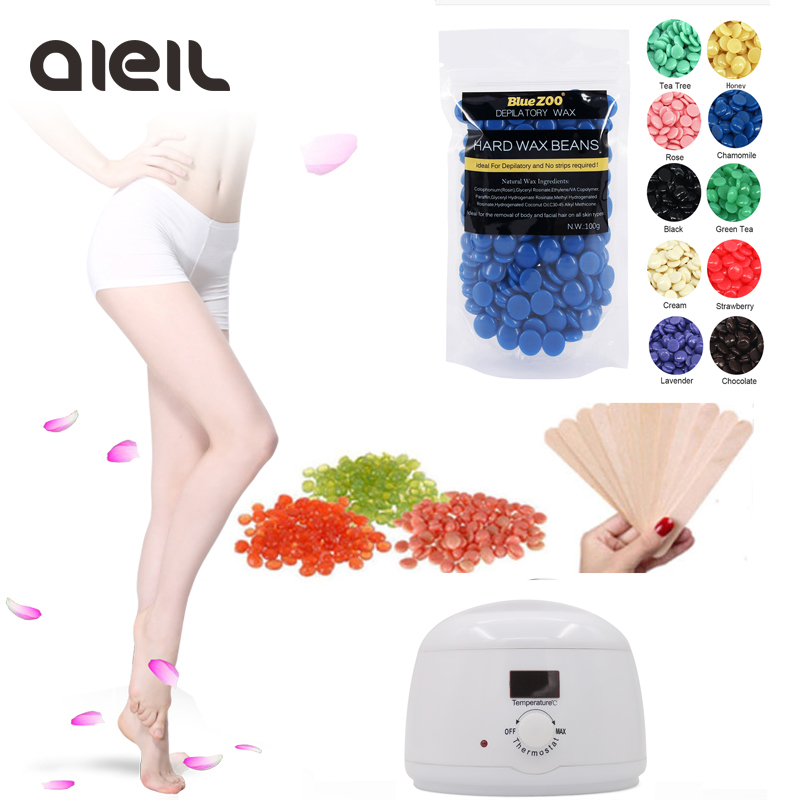 Waxing Warmer Wax Heater Machine 100g Wax Beans Kit Depilation Paraffin Wax Heater Bikini Epilator 10pcs Stickers Hair Removal natural lavender wax beans depilation cream machine set kit pearl wax hair removal body waxing hair epilation epilator