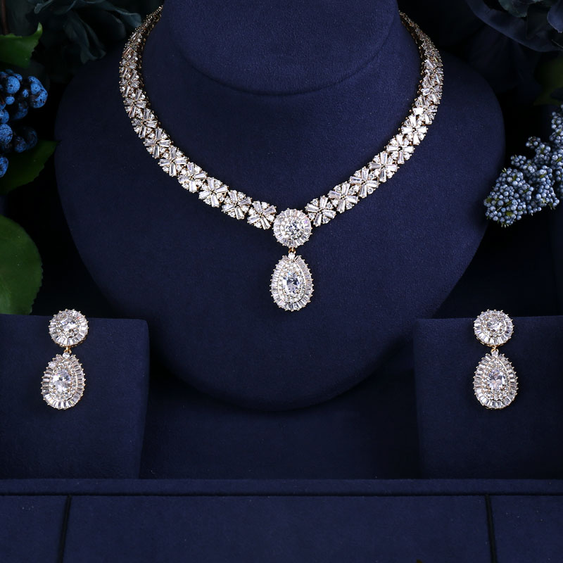 Gold-color Plated Elegant Shape Bridal Cubic Zirconia Necklace Earrings Sets Big Wedding Jewelry Sets For Brides