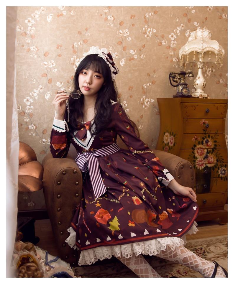 Lolita original conception à manches longues OP robe collège vent Lolita jupe