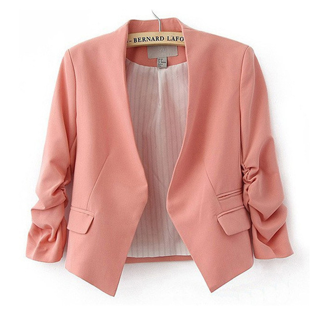 black blue pink rose small jackets women 34 sleeve vintage office work casual slim - Buy Candy By Color