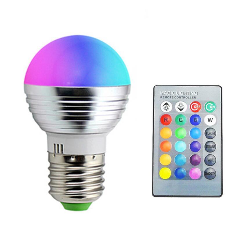 E14 E27 Led Dimmable RGB RGBW Led Bulbs 3W 85-265V 110V 220V Colorful Led Lamp Chandeliers Led Light+24 Key IR Remote Controller