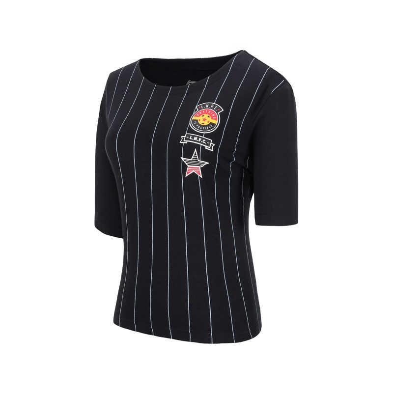 Li-Ning Женская трендовая футболка из 100% хлопка, свободная подкладка, дышащие полосатые майки, удобные спортивные футболки, топы AHSN068 WTS1486