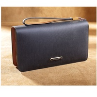 Wristlet Hot Sale Men Wallets Genuine Leather Zipper Phone Pocket Long Wallet Male Clutch Bags Man Purse Hand Bag Drop Shipping