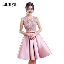 Lamya Short A Line Pink Stain Prom Dresses For Women 2017 Lace Wedding Party Fromal Dress