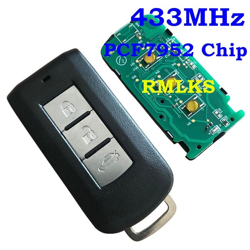 RMLKS 3 кнопки дистанционного ключа Fob 433 МГц ID46 PCF7952 чип, пригодный для Защитные чехлы для сидений, сшитые специально для Mitsubishi Lancer Outlander умный дистанционный ключ ввода