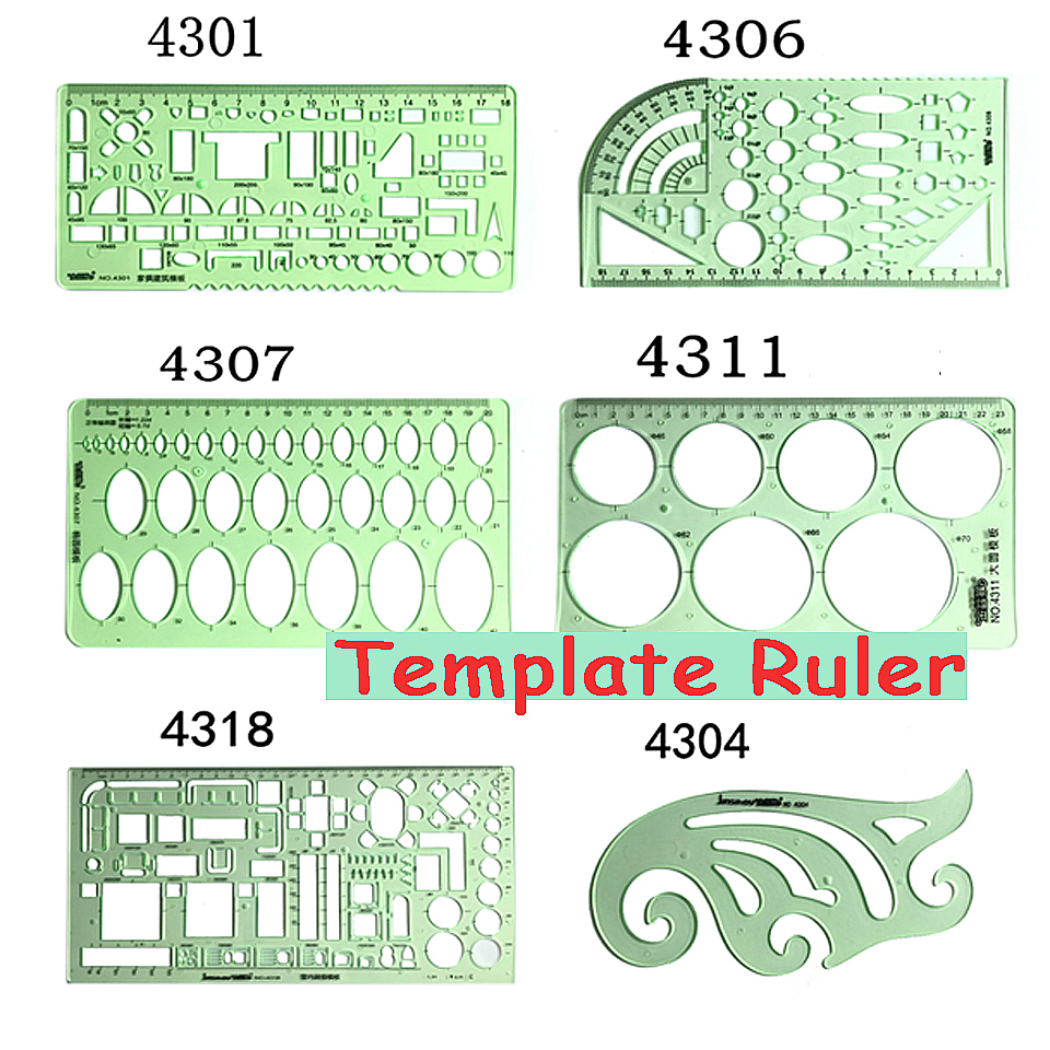 Brand New Green Geometric Template Ruler Mapping Drawing Tools Ruler Suitable For Student School Stationery deli 8210 rules 10 meters 25mm pocket ruler anti wear steel tape precision measure regla drawing template school line chancery