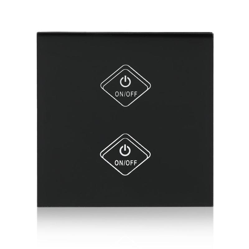 UK Plug WiFi Smart Switch 2 Gang Light Wall Switch Waterproof Crystal Glass Panel Touch Screen APP Control For Amazon Alexa New
