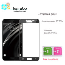 5PCS Full Cover Tempered Glass For Samsung Galaxy C7 Pro 9H 0.3mm Screen Protector for
