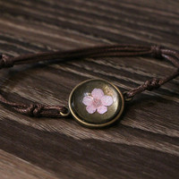 Flyleaf Handmade Natural Cherry Flowers Charm Bracelets For Women Vintage Style Lady Jewelry 1