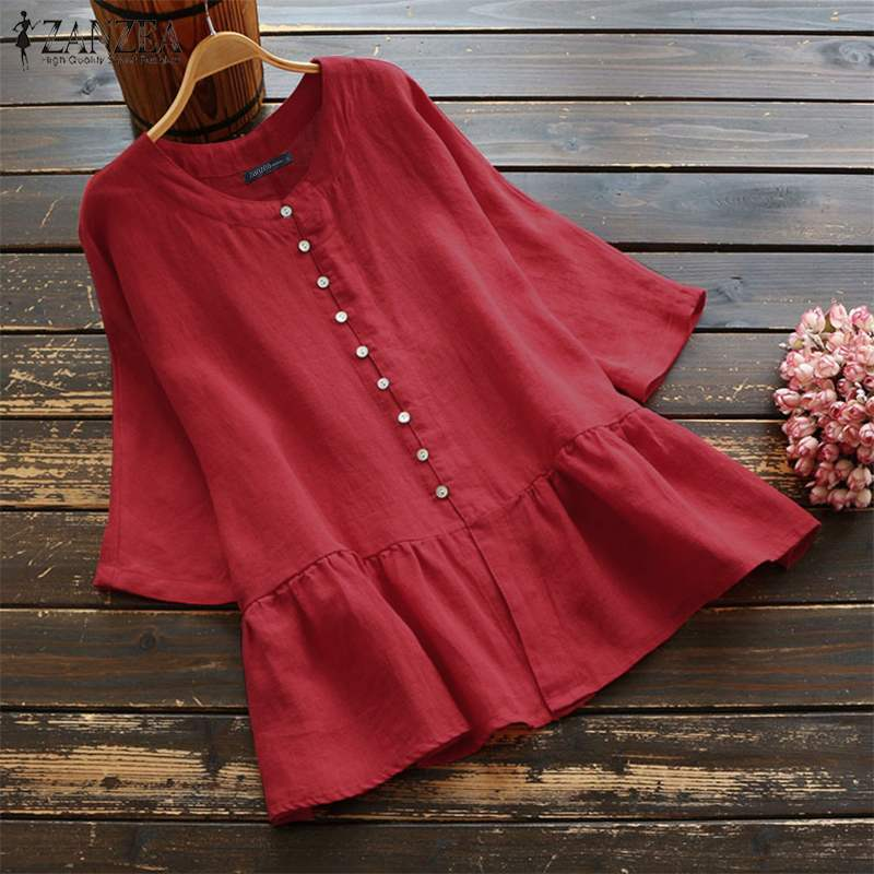 ZANZEA Women Tops Blouses Casual Cotton Linen Shirts Buttons Down Blusas Ruffles Work Office Tunic Tops Blusa Feminina Plus Size