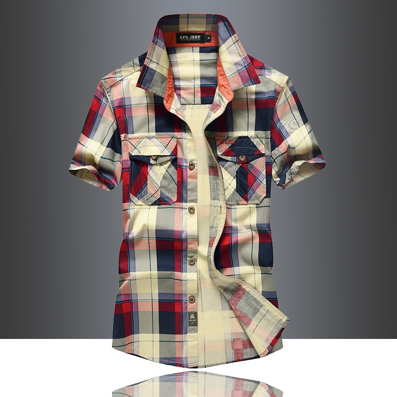 Mens Clothing 2019 Summer Casual Men's Shirts Short Sleeve Mens Designer Dress Red Plaid Shirt Top Male High Quality 100% Cotton