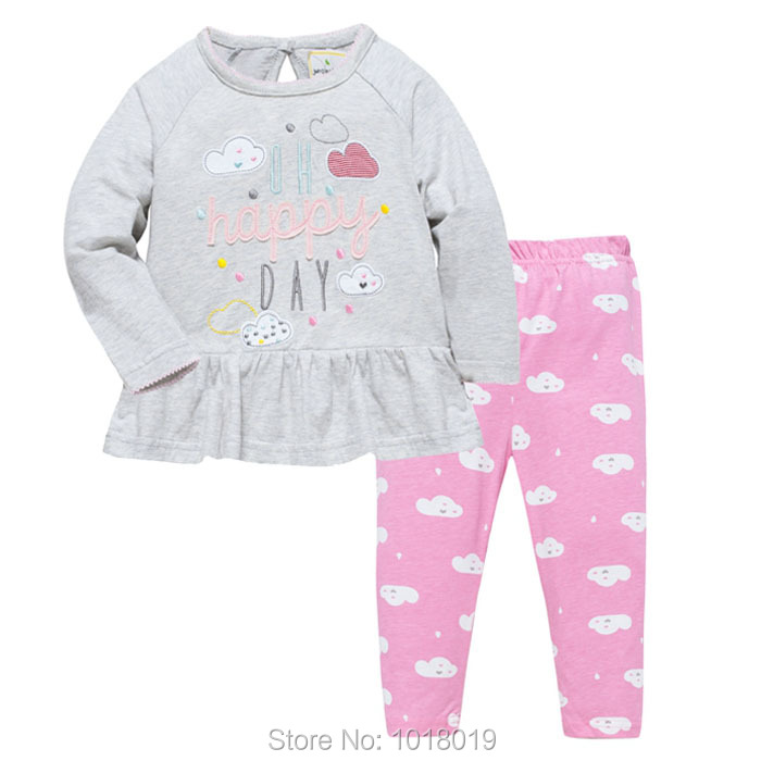 New 2018 Brand Quality 100% Cotton Baby Girl Clothes Set 2pcs Long Sleeve Children Clothing Set Bebe Kids Clothes Set Baby Girls 2pcs children outfit clothes kids baby girl off shoulder cotton ruffled sleeve tops striped t shirt blue denim jeans sunsuit set