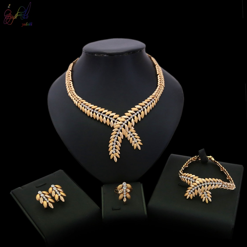 YULAILI New Wedding Jewelry Set for Charming Women Dresses Dating Accessories Necklace Bracelet Earrings Ring 4-pcs Set a suit of charming red rhinestone bamboo necklace bracelet ring and earrings for women page 9