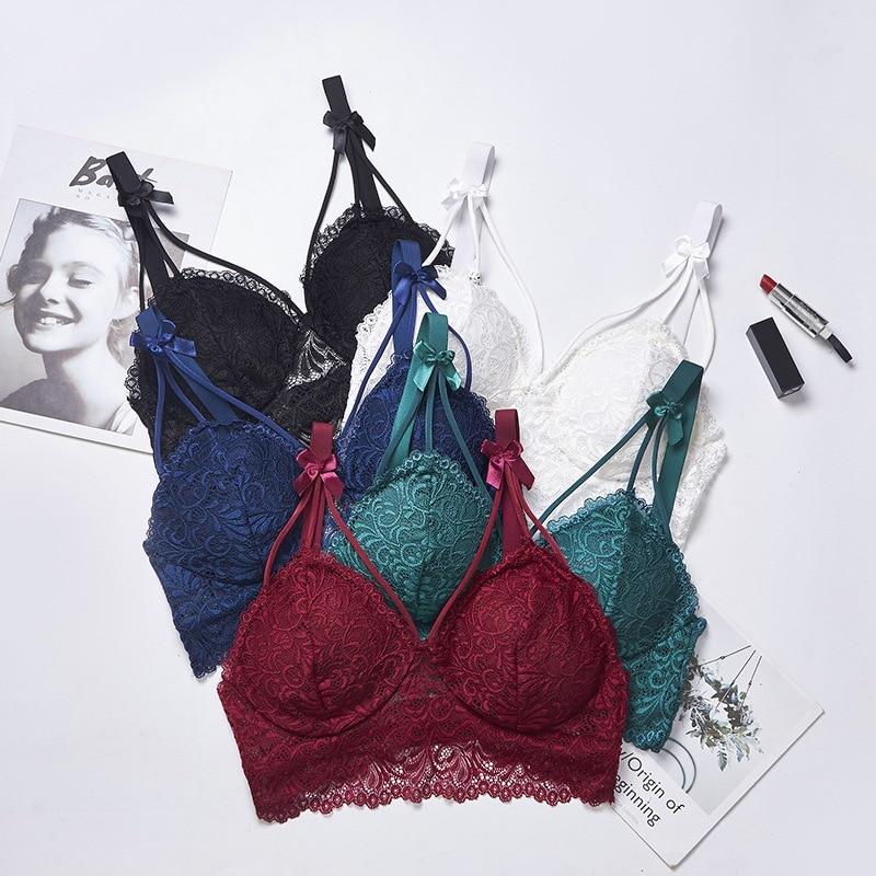 Women 39 s Padded Bras Sweet Bow Push Up Lingerie Lace Flower Bra Bustier Seamless Bralette Bra in Bras from Underwear amp Sleepwears