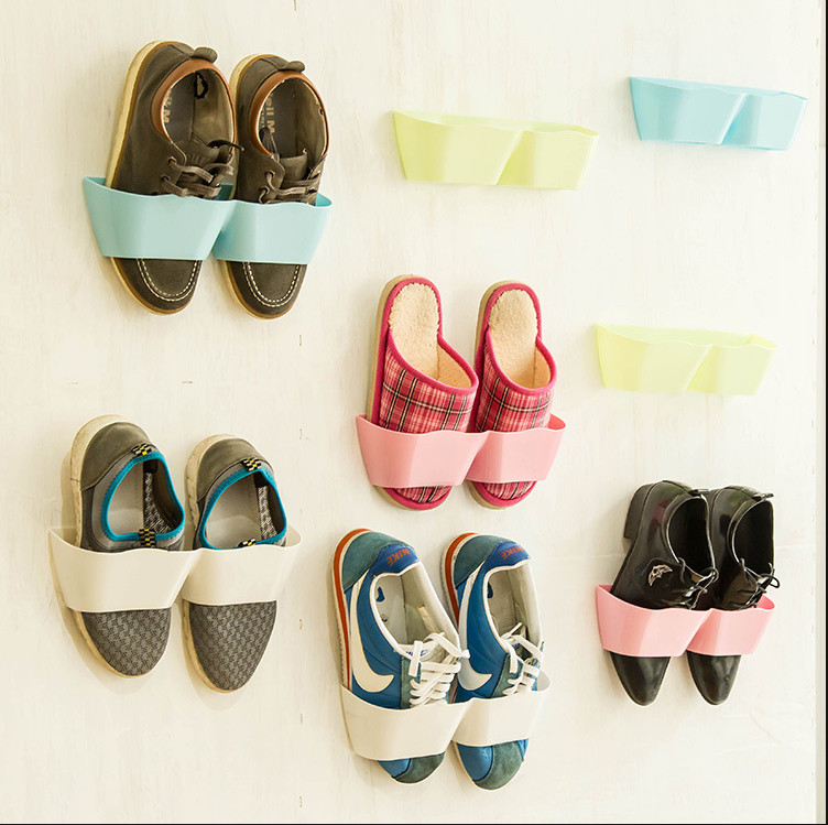 Free Shipping Hot Sales Portable Color Creative Adhesive Shoes Rack Wall  Hanging Shoes Organizer Hanger Hook Shoes Storage In Shoe Racks U0026  Organizers From ...
