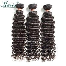 """ILARIA HAIR 8A норка бразильские вьющиеся девственные волосы 3 пучка глубокая волна 1""""-30"""" Необработанные вьющиеся человеческие волосы переплетения пучки высшего качества"""
