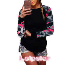 Autumn 2018 Trendy Women Patchwork Long Sleeve Army Camouflage T Shirt Tops Round Neck Shirts Tees Plus Size 5XL Laipelar