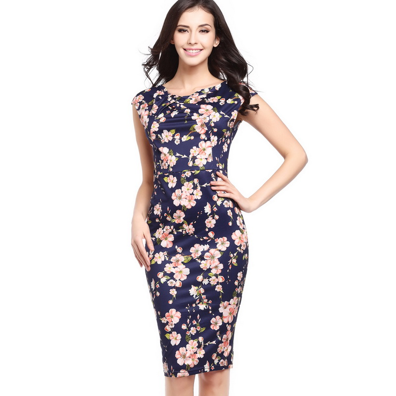 7229c81a3b2 Ebay Hot 2017 New Ladies Elegant Floral Print Vestidos Bodycon Pencil Sexy  Summer Dress Women Blue Plus Size Party Dresses Dot-in Dresses from Women s  ...