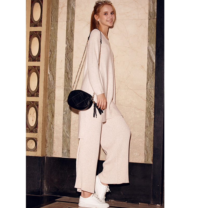 Tracksuits Special Offer 2018 Women Wool Knitted Suit Fashion Sweater + Split Wide Leg Trousers Loose Two Piece Cashmere Suits