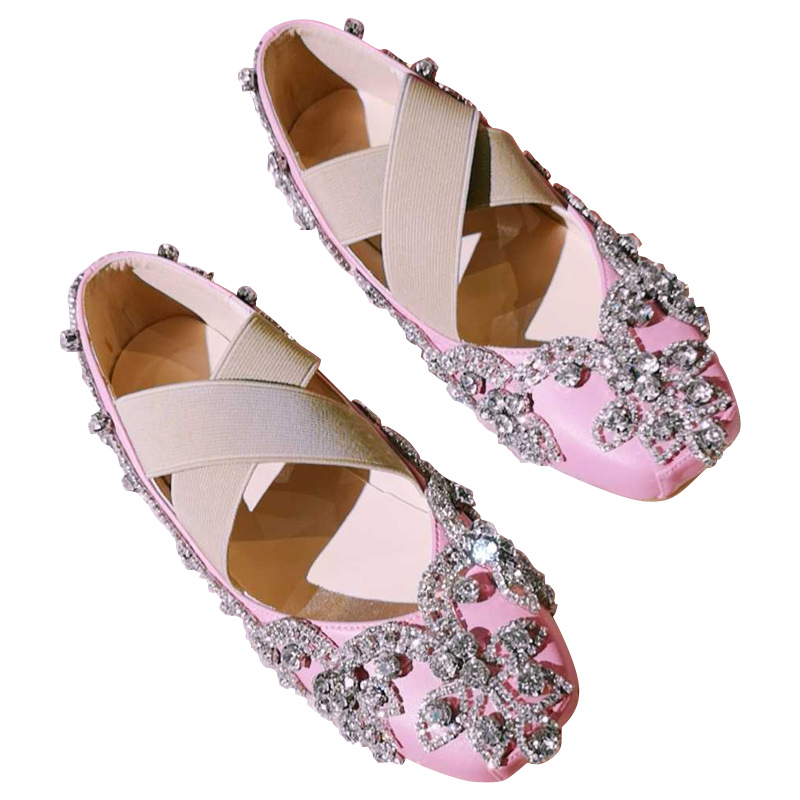 Bling Crystals Flats Women Luxury 2019 Ballet Flats Casual Ladies Shoes Slip On Loafers Ballerina Flats Wedding Shoes Bride Pink