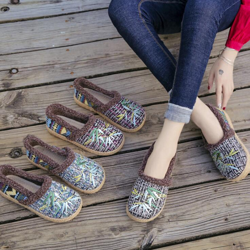Casual embroidered women 39 s cotton shoes autumn and winter thickened flat large size new classic retro national style in Women 39 s Flats from Shoes