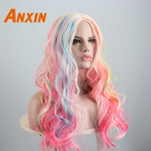 Anxin Long Body Wavy High Temperature fiber Colorful Unicorn Candy Color Pink For Girls Women Cosplay Party Anime Synthetic Wig