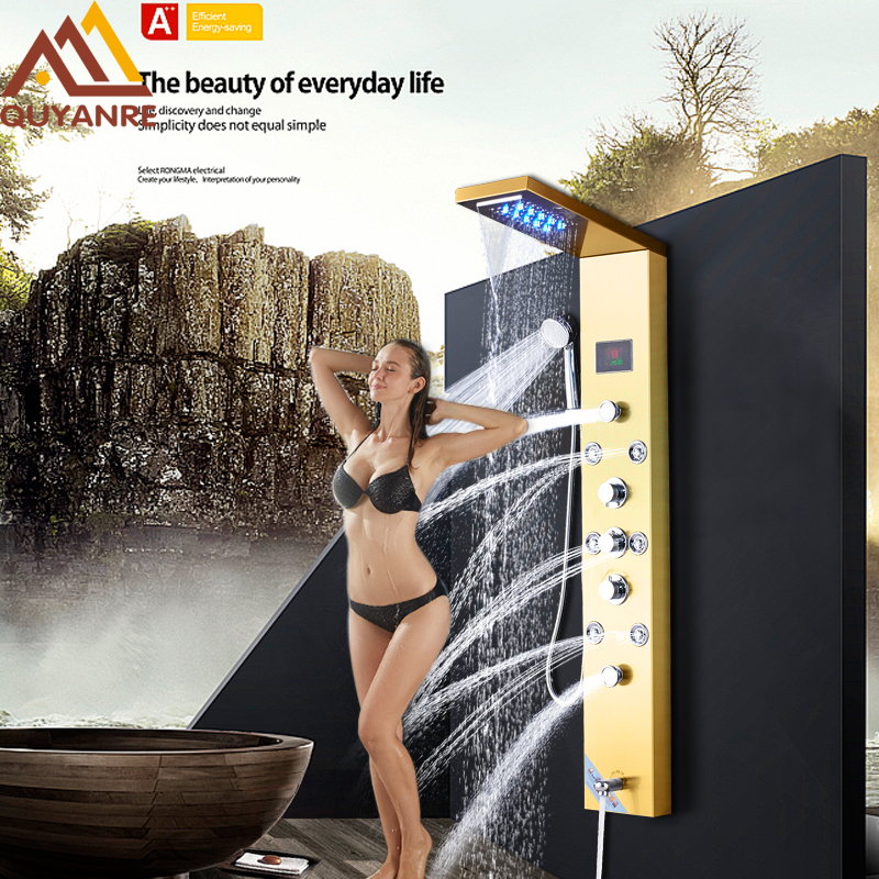Quyanre Gold Nickel Digital Shower Panel Column LED Rain Waterfall Shower Massage SPA Jets Tub Spout 3 Handles Mixer Tap Digital
